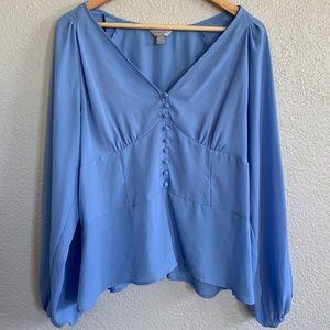Super pretty blue peasant blouse